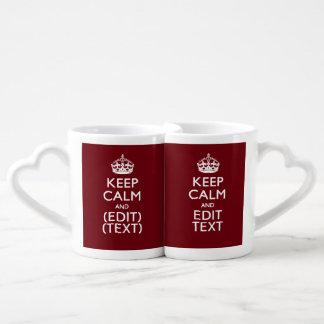 Cranberry Wine Burgundy Keep Calm Have Your Text Coffee Mug Set