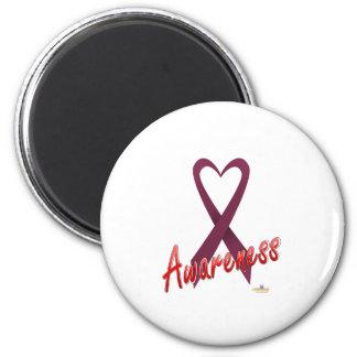 CranberryHeartRibbonAwareness Imán Redondo 5 Cm
