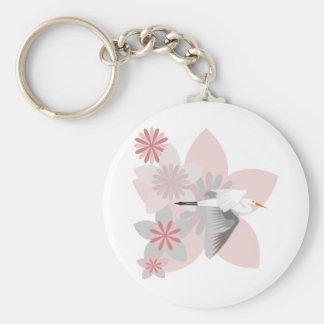 Crane and flower key chain