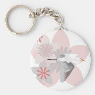 Crane and flower keychains