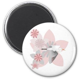 Crane and flower magnet