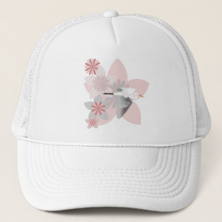 Crane and flower trucker hat