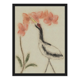 Crane and Orchid Postcard