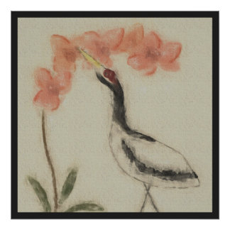 Crane and Orchid Poster Print