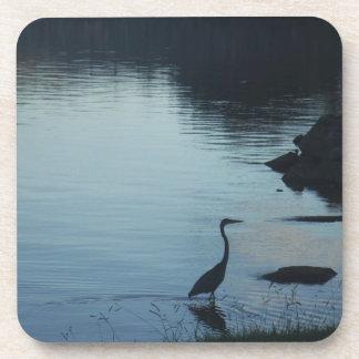 Crane at the Lake at Sunset Beverage Coaster