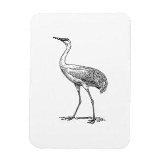 Crane Bird Drawing Rectangle Magnet