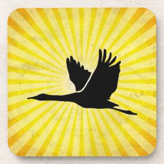 Crane; Bird Flying; yellow Coaster