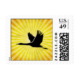 Crane; Bird Flying; yellow Postage Stamp