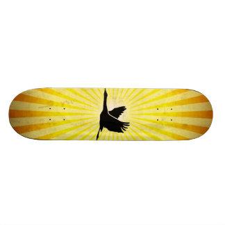 Crane; Bird Flying; yellow Skateboard Deck
