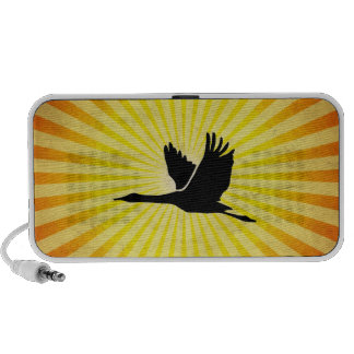 Crane; Bird Flying; yellow iPod Speakers