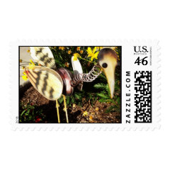 Crane Bird Garden Ornament Folk Art Postage Stamp