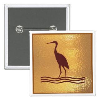 Crane Bird Prey Lake  - Medal Icon Gold Base Pinback Button