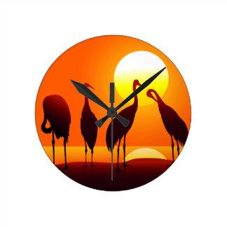 Crane bird  & Sunset Round Clock