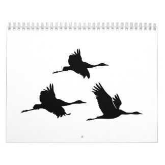 Crane birds calendar