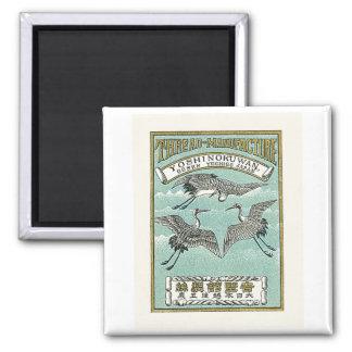 Crane Birds Vintage Japanese Silk Label 2 Inch Square Magnet