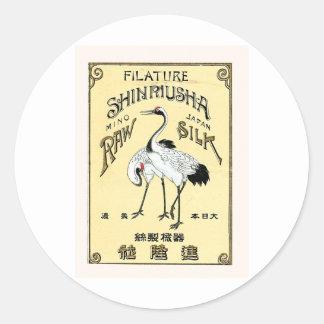 Crane Birds Vintage Japanese Silk Label Sticker