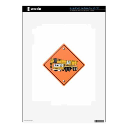 Crane Cartoon Construction Sign iPad 3 Decals