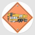 Crane Cartoon Construction Sign Round Stickers