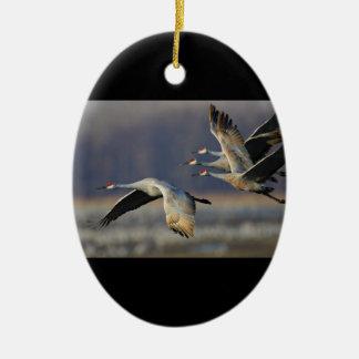 crane ceramic ornament
