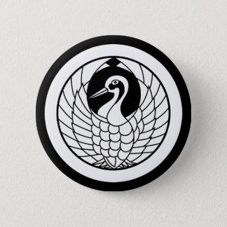 Crane circle in circle pinback button