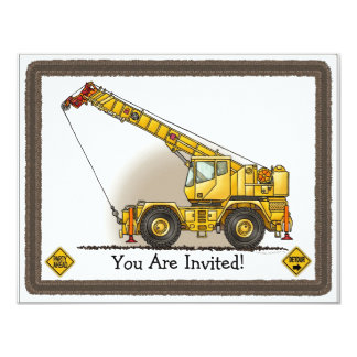Crane Construction Kids Party Invitation