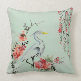 Crane Design Throw Pillow