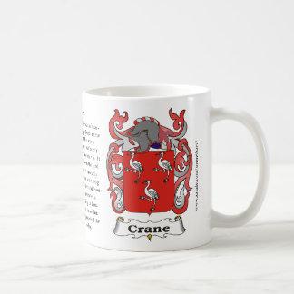 Crane, el origen, el significado y el escudo taza básica blanca