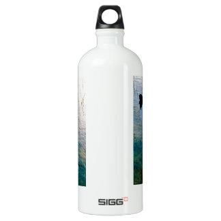 Crane feeding in shallow water aluminum water bottle