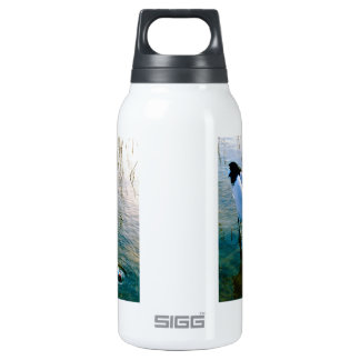 Crane feeding in shallow water insulated water bottle