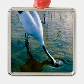 Crane feeding in shallow water metal ornament