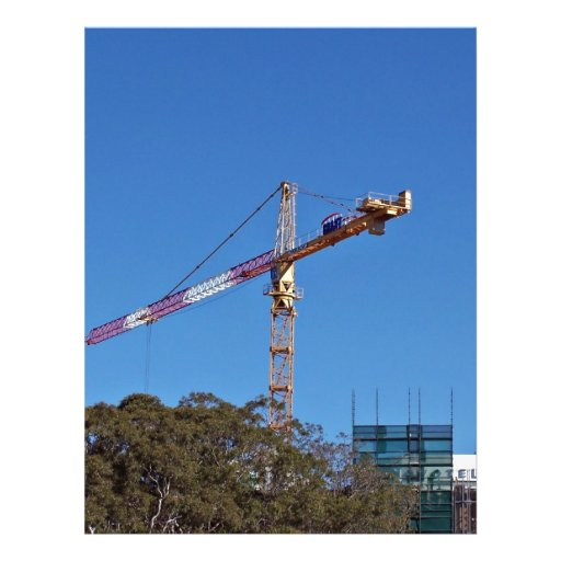 Crane in construction full color flyer