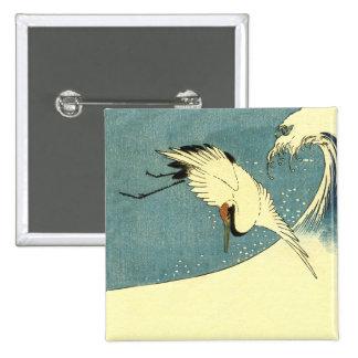 Crane In Ocean Wave Pinback Button