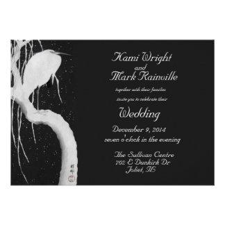 crane in the snow wedding invitation