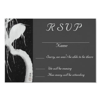 crane in the snow wedding RSVP Card