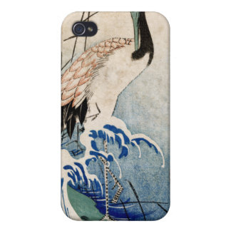 Crane in Waves, Ando Hiroshige iPhone 4 Covers