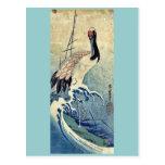 Crane in Waves by Ando, Hiroshige Uiyoe. Postcard