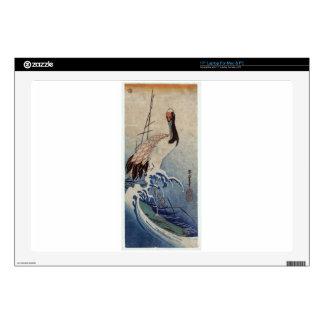 "Crane in Waves by Hiroshige 17"" Laptop Skins"