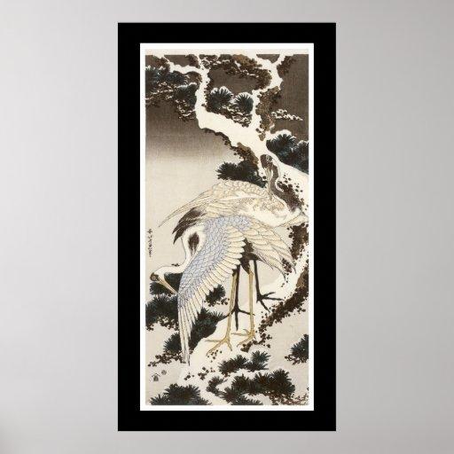 Crane on a Pine Tree (black) Poster