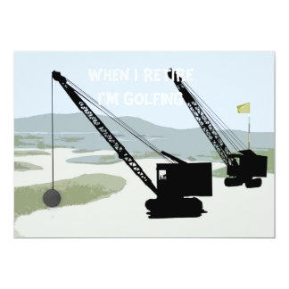 CRANE OPERATOR GOLF GOLFING FANTASY ART RETIREMENT CARD