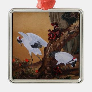 Crane Pair Under a Tree Metal Ornament