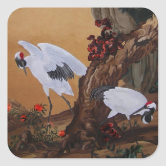 Crane Pair Under a Tree Square Sticker