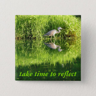 Crane Reflection Pinback Button