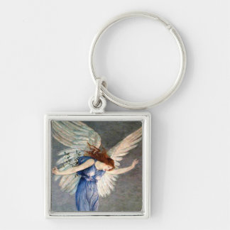 Crane's Angel of Peace Silver-Colored Square Keychain