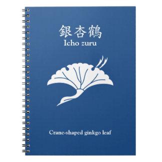 Crane-shaped ginkgo leaf notebook