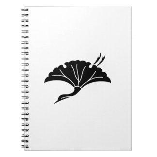 Crane-shaped ginkgo leaf spiral notebook