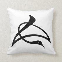 Crane-shaped kanji characters for Cho Throw Pillow