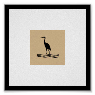 Crane Simple and Decorative Square Poster