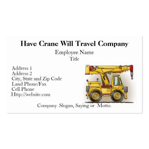 Crane Truck Construction Business Cards