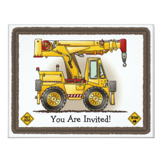 Crane Truck Kids Party Invitation