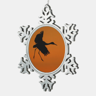 Crane Walking on Air Snowflake Pewter Christmas Ornament